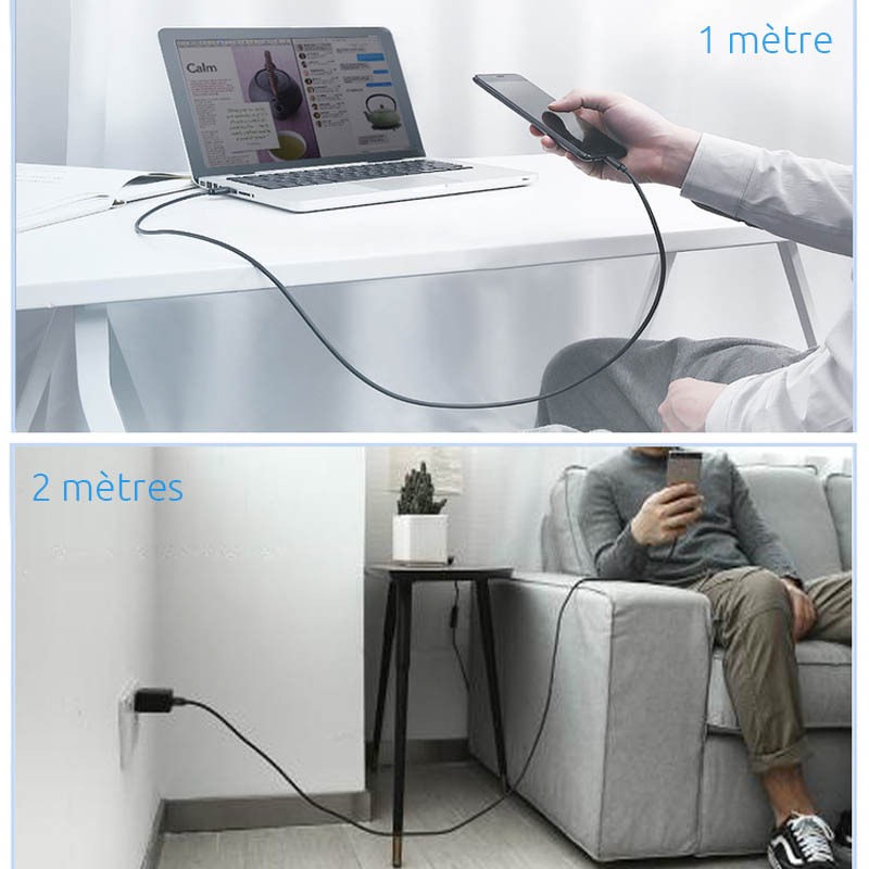 cable micro usb charge rapide long