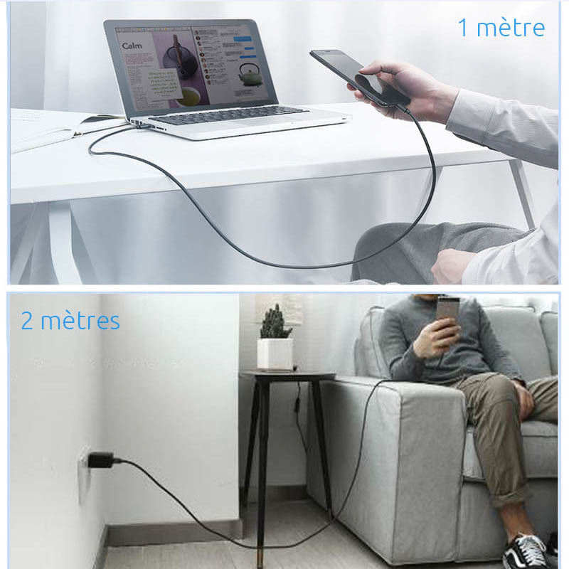 cable usb type c charge rapide long